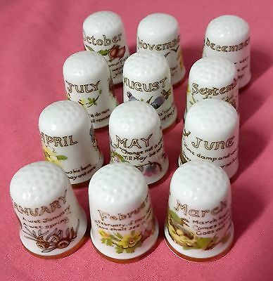 Thimble Collectable Caverswall 12 Individual Months Jan-Dec
