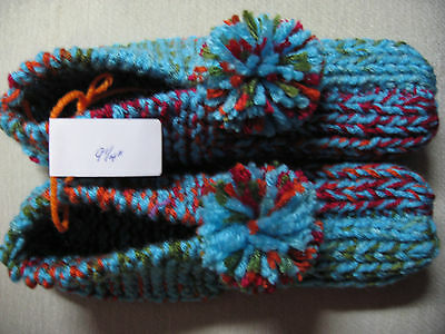 New Amish Handmade Knitted Slippers Booties Turquoise Med/Lg Mans Sm/Med 9 1/4""