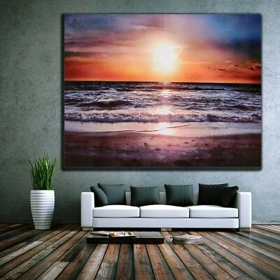 Sunset Beach Abstract Wall Home Decor Art Oil Painting Picture Canvas Unframed