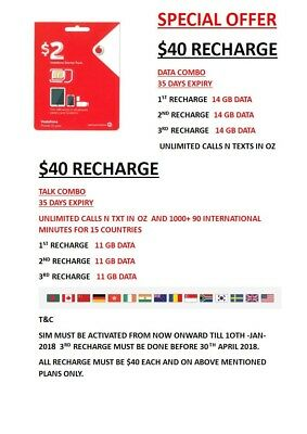 14 Gb Data $2 Prepaid Special  Vodafone Sim With  14Gb Data On First 3 Recharges