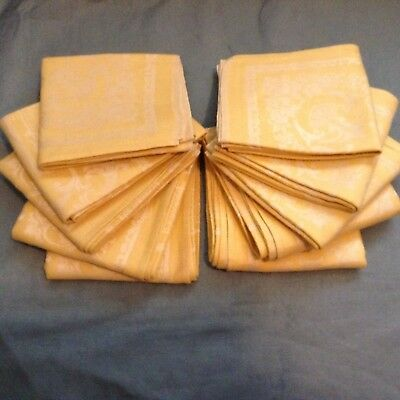 "8+2 NWOT Vtg DOUBLE DAMASK Irish LINEN NAPKINS 22x20.75"" HARVEST FRUIT"