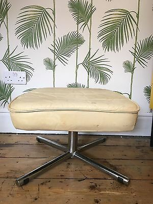 G Plan Cream Leather  Stool / Footstool 1960s 1970s