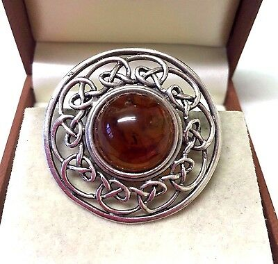 Vintage Sterling Silver Amber Stone Brooch Pin
