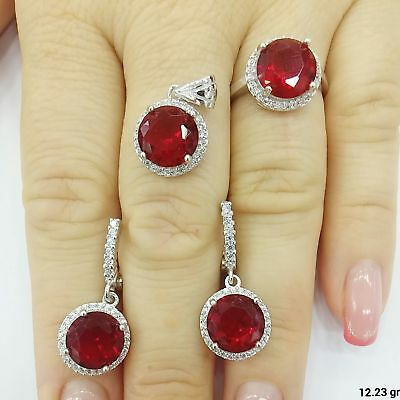Ruby Turkish 925 Sterling Silver Handmade Jewelry  Ladie's Full Set