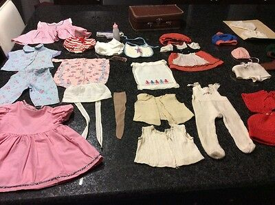 """Celluloid Doll 15"""" Clothes and doll Suitcase from 1950's Plus doll parts"""