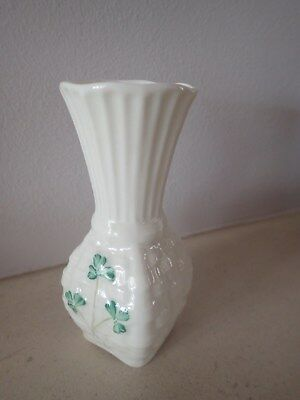 Belleek Vase with Shamrock pattern