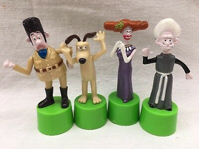 ~ WALLACE & GROMIT ~ 4 x Push up PLAY FIGURES == GROMIT = TOTTY = REV = VICTOR