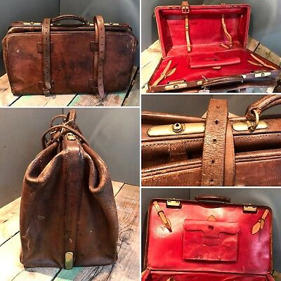 Stunning Large Antique Leather Gladstone Bag Suitcase Weekender Red Brass