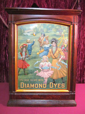 Antique Country Store Diamond Dyes Cabinet The Governess Tin Sign Children Nice