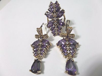 925 Sterling Silver Handmade Jewelry Purple Amethyst Ladie's Sets Ring Size 9