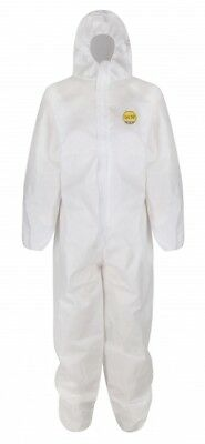 Disposable White Coveralls Hooded Overalls Decorators / Painters Protective Suit