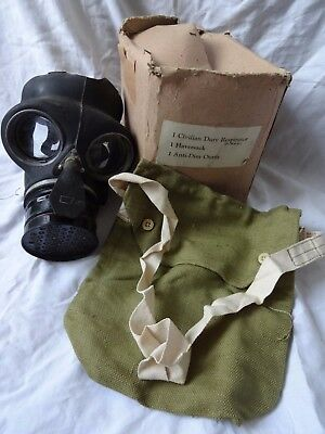 vintage wartime gas mask, bag & box (1942)