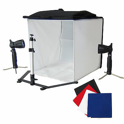 DynaSun PB05 50cm Cube Light Tent Softbox with Tripod 4 Backdrop 2 Lights Holder