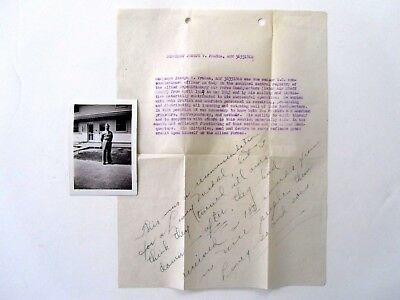 WWII Letter & Picture, GI Stationed in England, 1945, Record of Svce for Medal