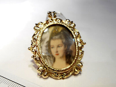 Victorian 18Ct Yellow Gold Painted Miniature Pendant/brooch