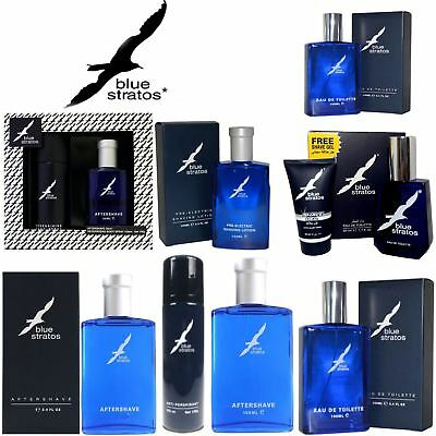 Blue Stratos | Aftershave Deodorant Eau De Toilette Shaving Lotion Gift Set |