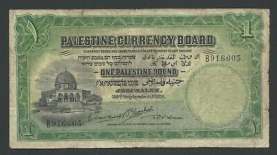 1929 Palestine 1 Pound, P-6b, Very Rare and Early Date, British Administration