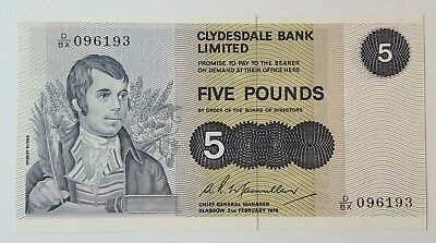 Clydesdale Bank Limited £5 Banknote - D/BX 096193 - 2 February 1976 - SC320c Unc