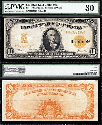 AWESOME Bold & Crisp VF+ 1922 $10 *GOLD CERTIFICATE*! PMG 30! FREE SHIP 94059128