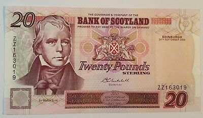 Bank of Scotland £20 REPLACEMENT Banknote ZZ163019 24 September 2004 SC147e EF+