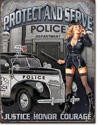 Police USA Polizei Protect and Serve USA Metall Deko Plakat Vintage Design