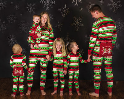 Christmas Striped Pajamas Matching Family Nightwear Adult Mum/Dad/Baby/Kids