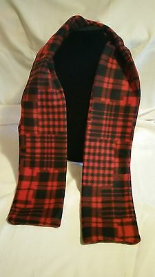 Hand Crafted Red and Black Plaid Fleece Scarf NEW Free Shipping