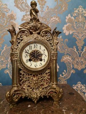 Early C20th French Gilt Brass Ornate Mantle Chime Clock