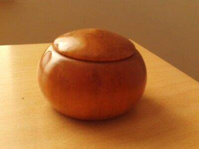 Vintage Small Wooden Circular Trinket Box