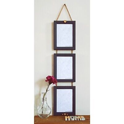 Hand Painted Dark Grey Wood Wall Hanging Photo Picture Frame with Hearts Vintage
