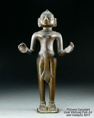 India Indian Jain Bronze Standing Figure Buddha, Solid Cast, 17/18th Century