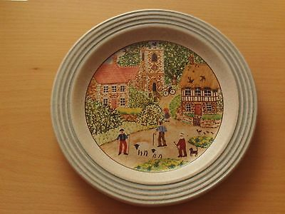 """Purbeck Pottery Stoneware Plate Village Scene Design ~ Roughly 8 1/2"""" Across"""