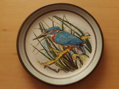 """Purbeck Pottery Stoneware Plate Kingfisher Design ~ Roughly 7"""" Across"""