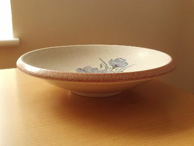 """Purbeck Pottery Stoneware Bowl Floral Design ~ Roughly just under 8 3/4"""" Across"""