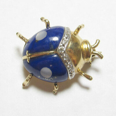 Estate 14K Yellow Gold Natural Lapis, Mother Of Pearl Diamond Ladybug Brooch