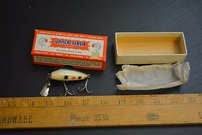 nice old unusual unner flash lure minnow bait strawberry spot in the box 1950's