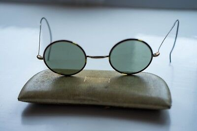 GENUINE 1930's VINTAGE METAL ROUND SUNGLASSES WITH ORIGINAL CASE AND CLOTH