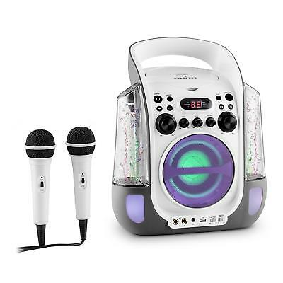 Impianto Karaoke Cd Usb Mp3 Acqua Led 2 Microfoni Portatile Bambini Idea Regalo