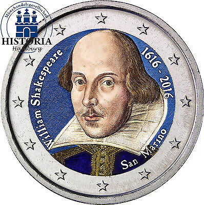 San Marino 2 Euro 2016 Gedenkmünze 400. Todestag William Shakespeare in Farbe