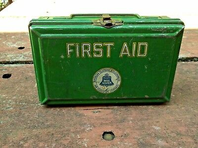 Nice Vintage Metal Bell Systems American Telephone & Telegraph Co First Aid Kit