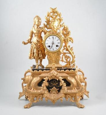 French Japy Freres Gilt & Black Marble mantle Chime Clock (51 cm high)