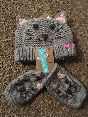 BNWT Joules Chums Baby Cat Hat Mitten Gloves Set RRP £24.95 Size M/L