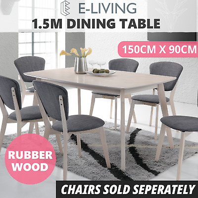 Dining Table 1.5M 6 Seater Whitewashed Oak Timber Scandinavian Modern Kitchen