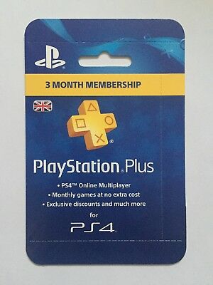 Playstation Plus 3 Month Membership for PS4 - Posted not emailed