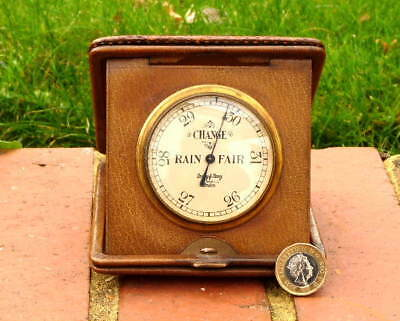 ANTIQUE VICTORIAN POCKET BAROMETER in FOLDING HIDE CASE by ARMY & NAVY - LONDON