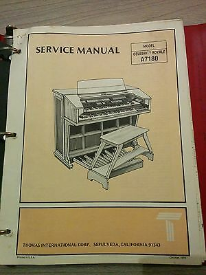 Thomas Organ Model Celebrity Royale A7180 Service Manual - ORIGINAL