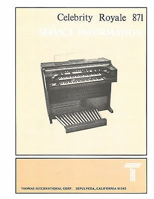 Thomas Organ Model CELEBRITY ROYAL 871 Service Manual