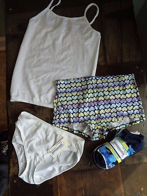 Lot of NEW girls size 10 underwear socks and white camisole