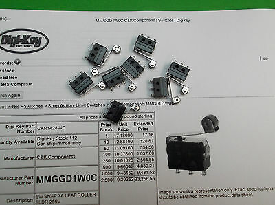 Micro Switch Miniature MM C/O Lever Roller 7A Silver Small Microswitch x 1pc ONO