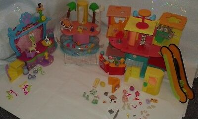 Polly pocket bundle, shopping mall, dog show and party pool